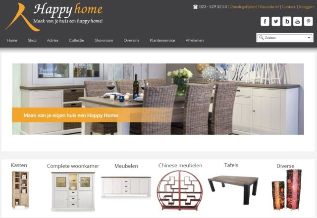 Woonwinkel Happy Home website
