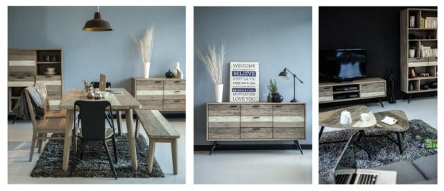 Vita meubelen industrieel onderstel met acacia bovenblad